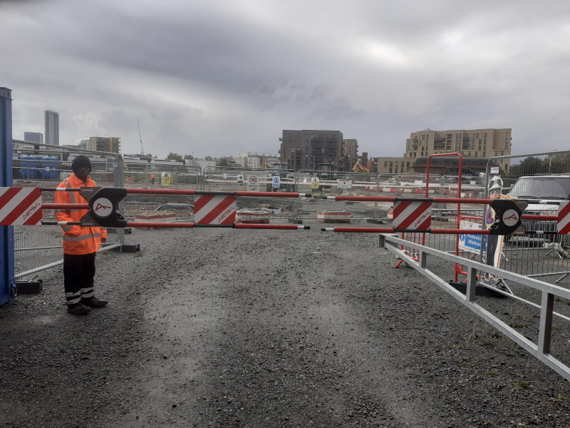 Solar electric barrier controlling traffic for Erith who are preparing a site in East London.