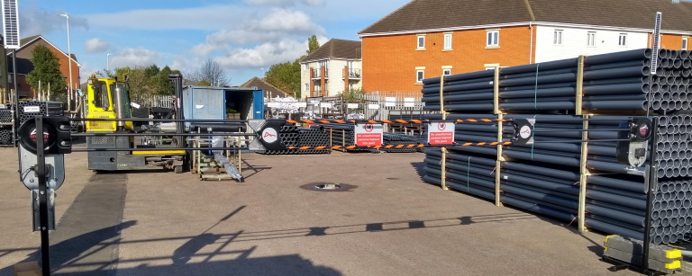 Polypipe loading and unloading area access control